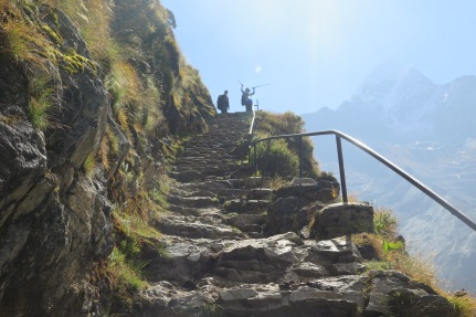 Stairs on the Everest Base Camp trail trek
