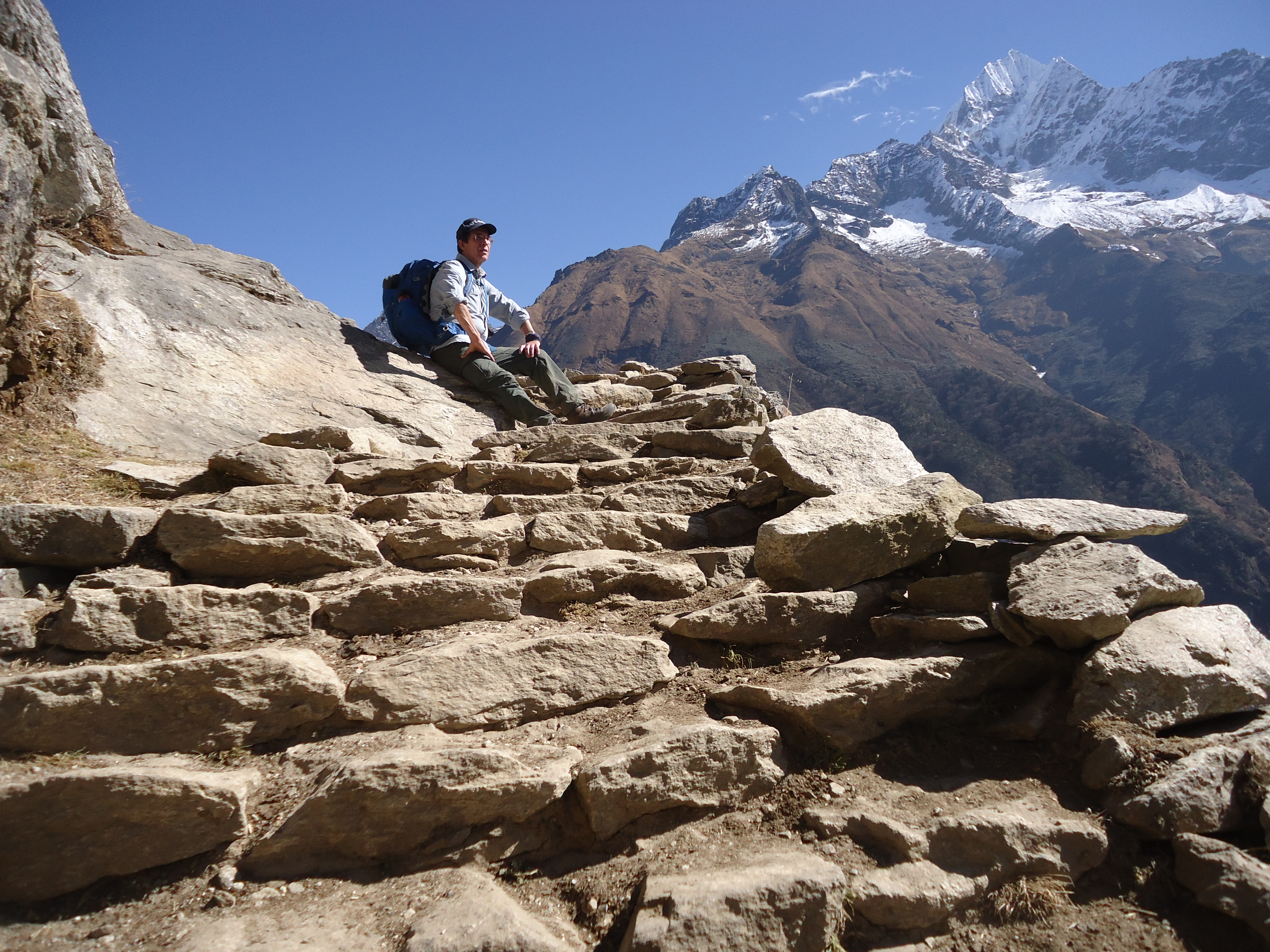 Main Everest Base Camp Trail between Namche Bazaar and Tengboche treacherous steps but a great view.