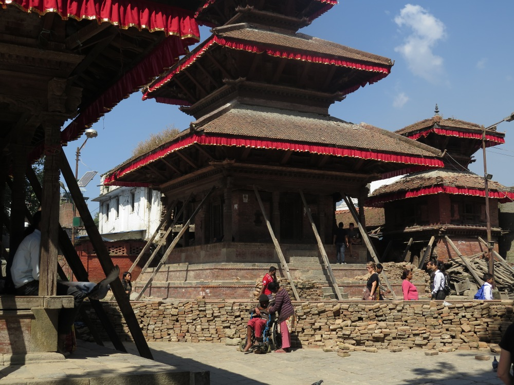 Historic buildings in Durbar Square propped up after the earthquake