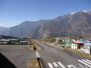 The postage stamp size   airstrip of the Tenzing - Hillary Airport in Lukla, Nepal.