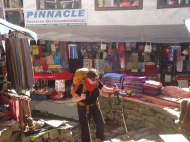 Shops line Namche Bazaar EBC Trek trail