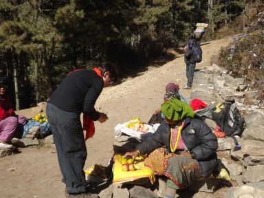 Fruit sellers climbing to Namche Bazaar EBC