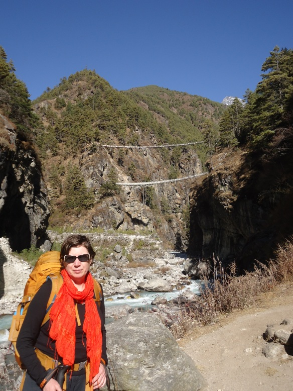In front two bridges over the Dudh Kosi gorge