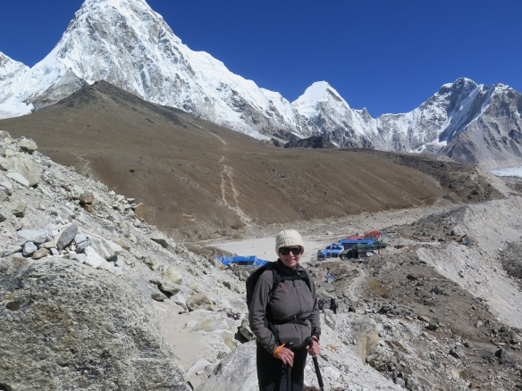 At Gorak Shep with Kala Patthar and Pumori behind