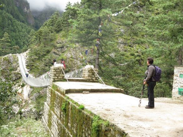High bridge on the climb to Namche Bazaar