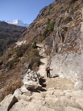 EBC trek Above Namche Bazaar trekking to Tengboche