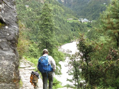 Everest Base Camp Trek Main Trail between Phakding and Bengkar