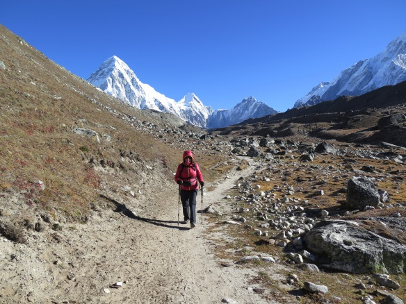 Walking back from Gorak Shep Everest Base CAmp Trek