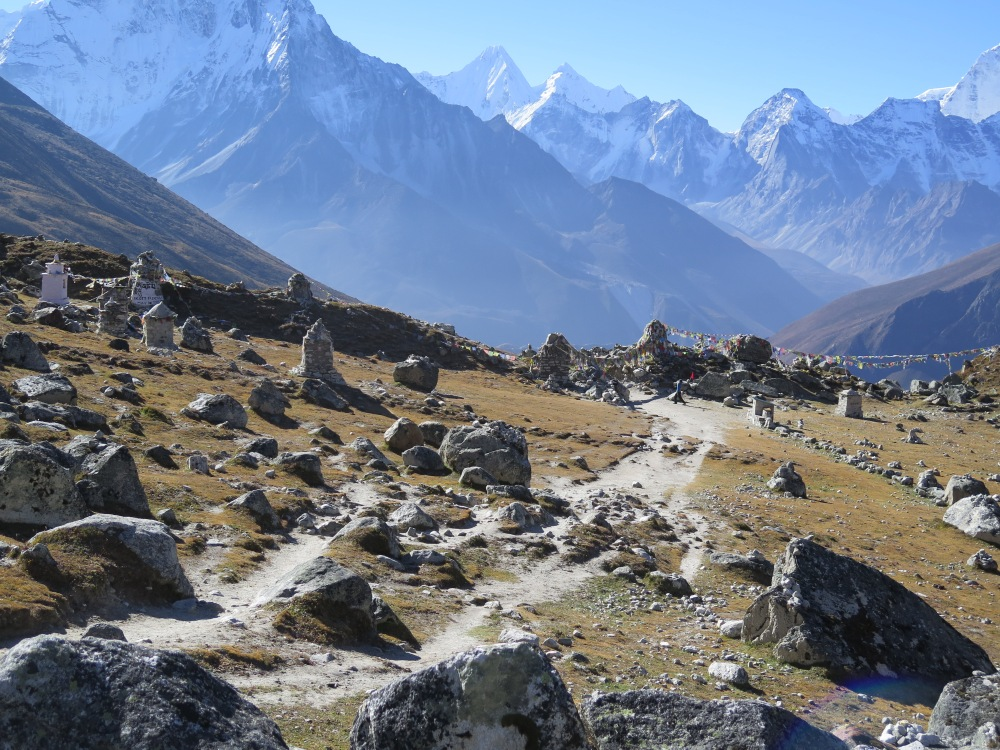 Cairn Memorials at Chupki Lhara above Dughla on the Everest Base Camp Trek