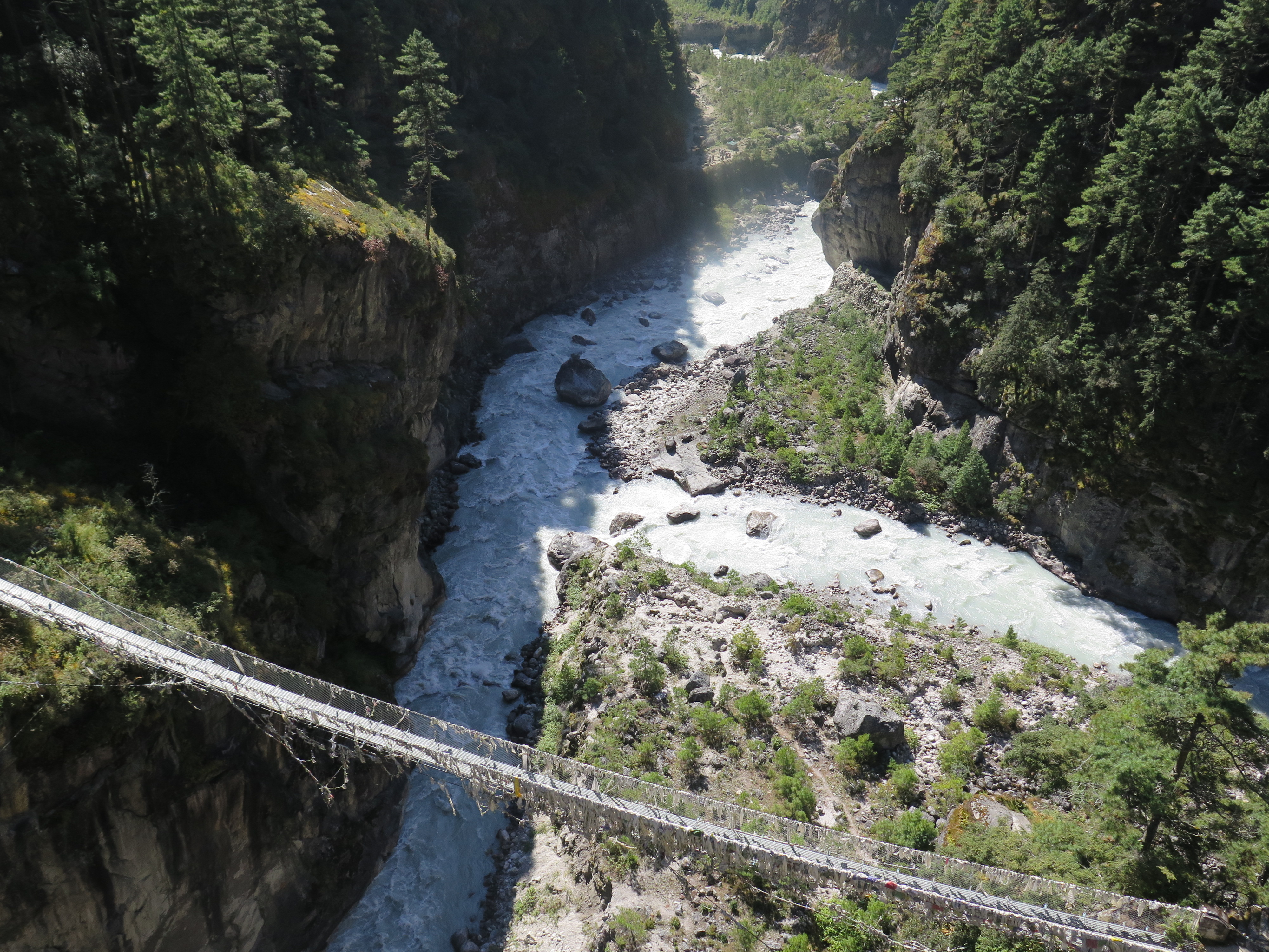 Lower suspension bridge over the Dudh Khosi taken from the higher bridge
