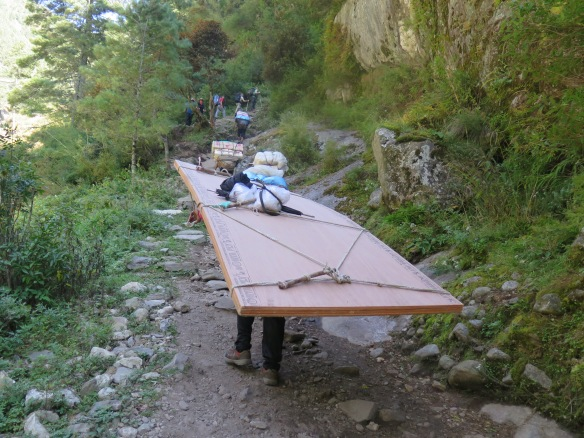 Heavy Timber Load being Carried by Porter up to Namche Bazaar