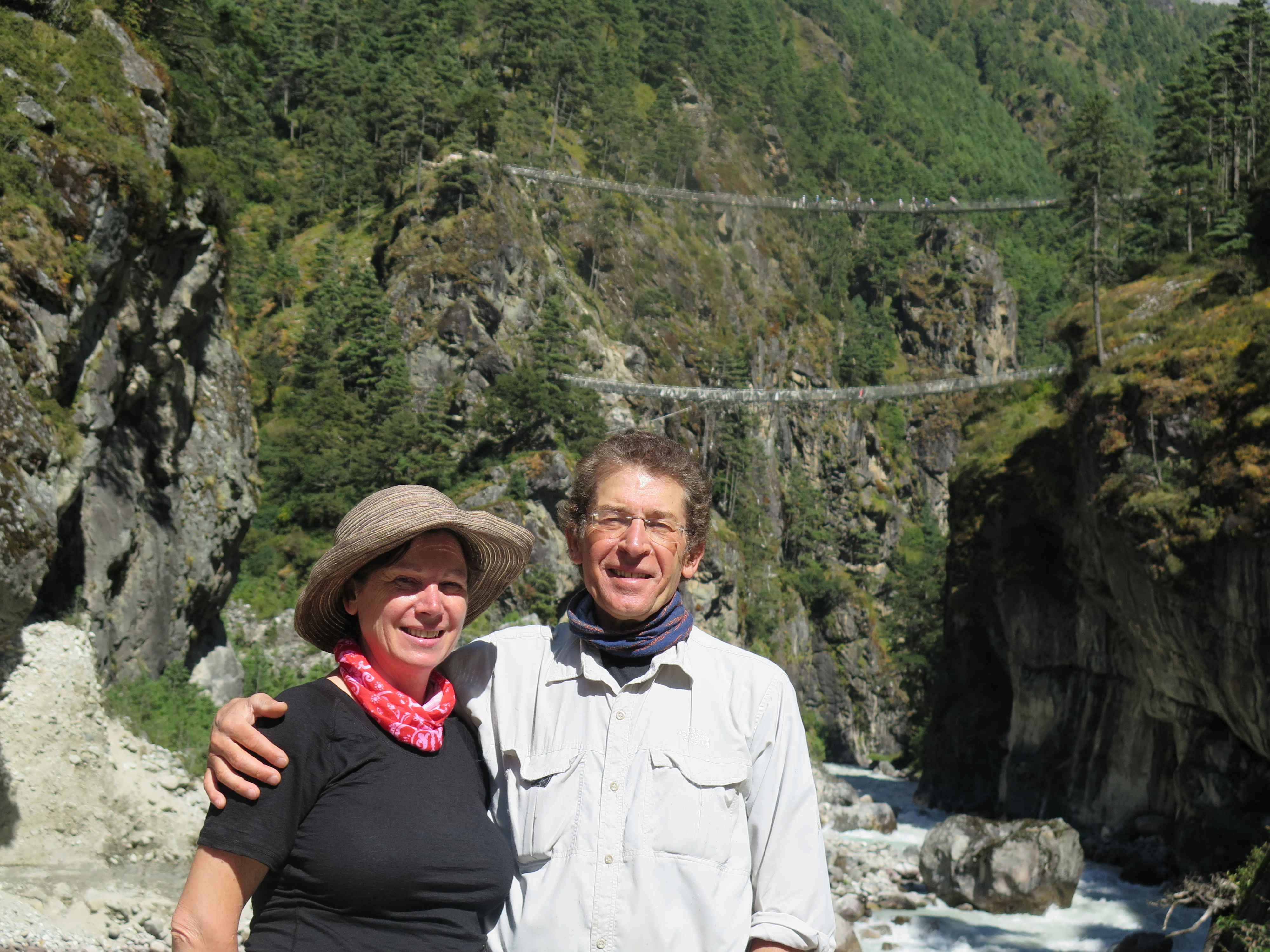 The suspension bridges across to Namche Bazaar