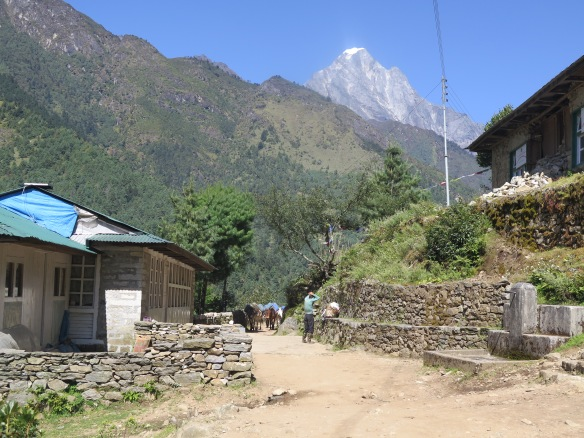 Resting spot for porters outside or Lukla