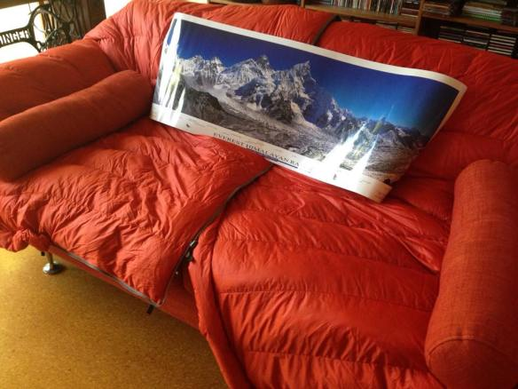 Couch with sleeping bag
