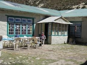 Tea in the sun at Periche