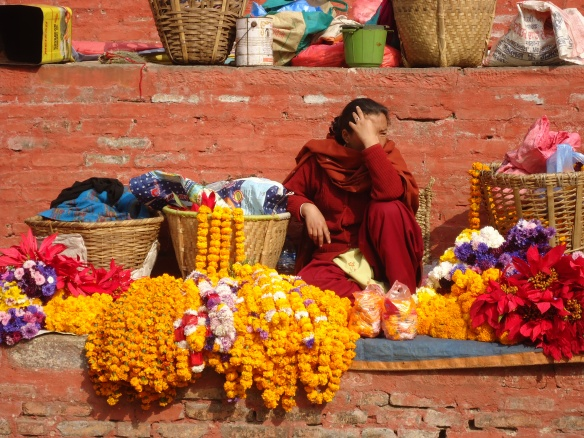 Kathmandu Selling Flower Garlands