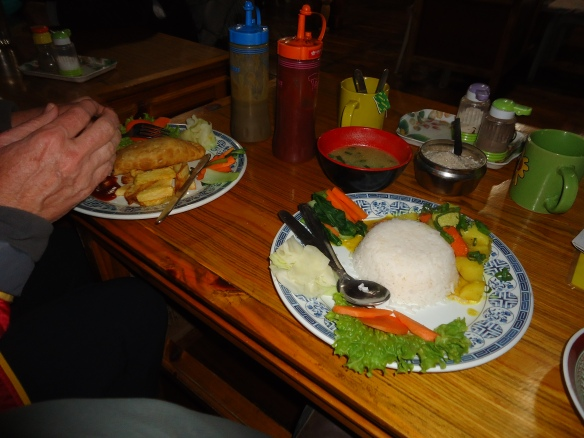 Food in a Namche Bazaar lodge