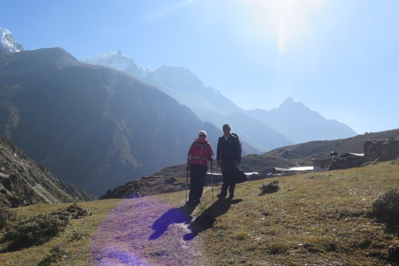The Porter guide and me Above Macchermo on the way to Gokyo