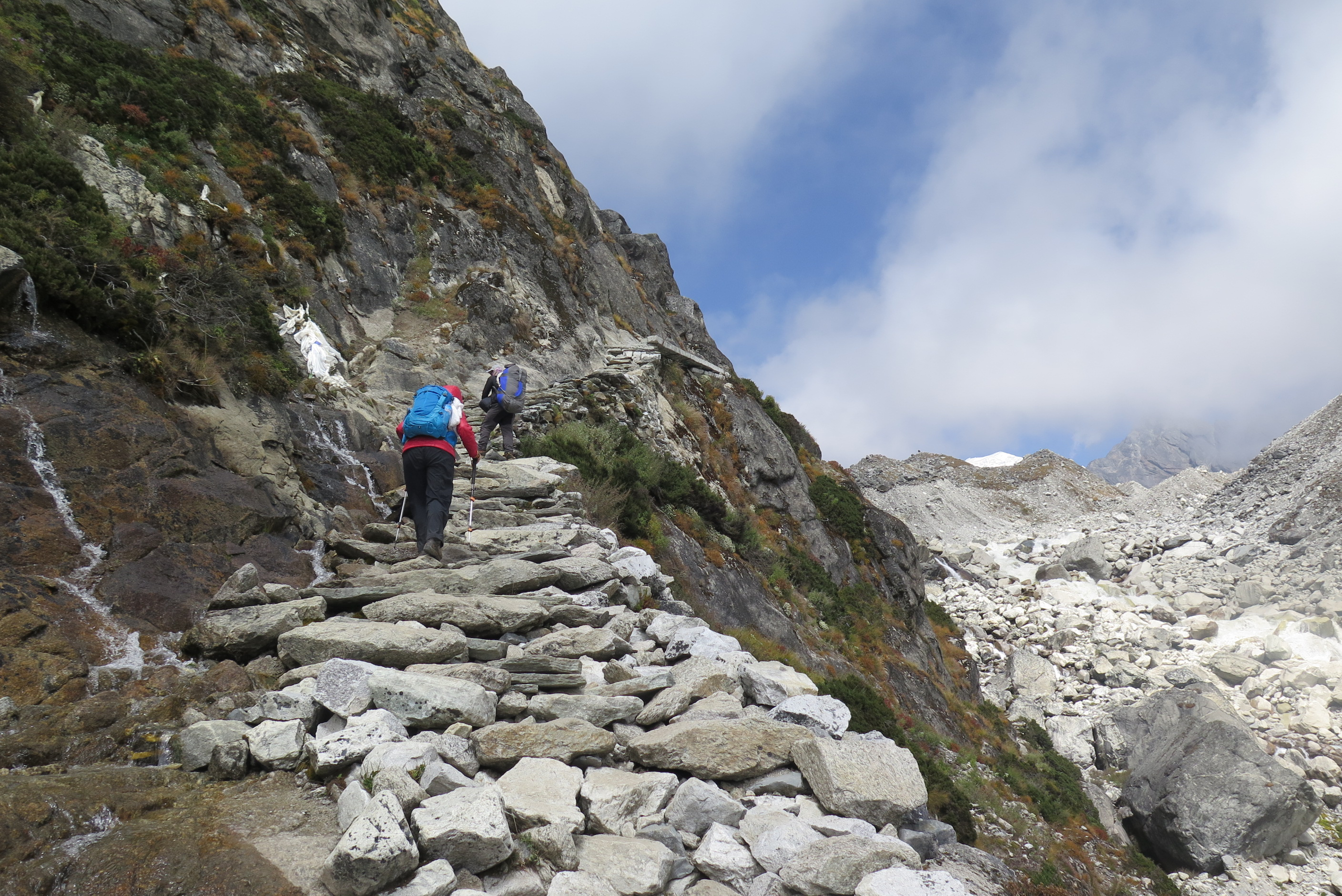 Rock stairs going to Gokyo EBC region Nepal