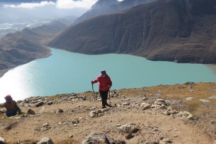 Above Gokyo Lake climbing to Gokyo Ri Everest Region Nepal
