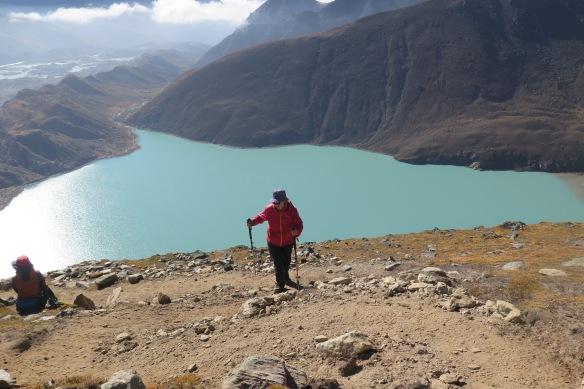 Above Gokyo Lake climbing to Gokyo Ri Everest Region Nepal