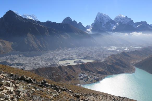 Ngozumba Glacier Above Goyko Gokyo Lake and the town og Gokyo