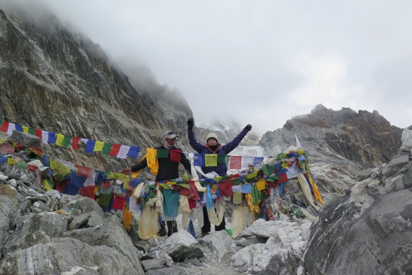 On top of Chol La Pass with the Porter Guide, Nepal