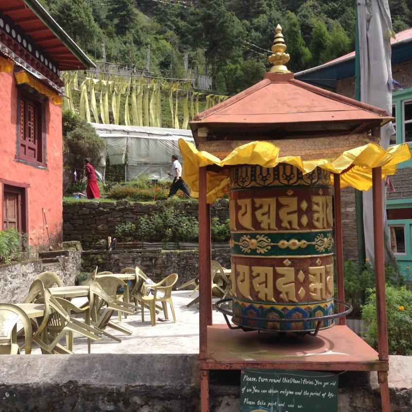 Prayer wheel at the monastery at Cheplung