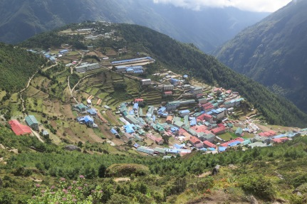 looking down on Namche Bazaar from the airstrp side of the town