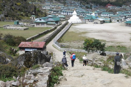 Near the gate to Khumjung Village the walk past the Edmund Hillary School