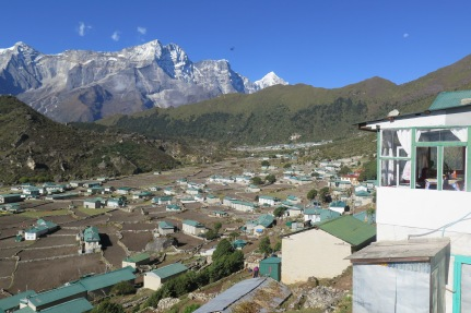 The town of Khumjung Nepal and the the Kongde range