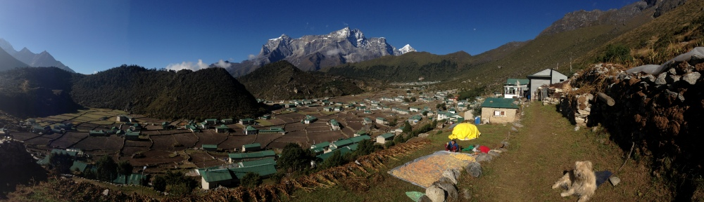 Panarorama above Khumjung looking at village and Kongde Ri