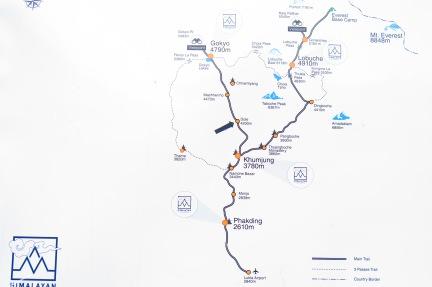 Map the EBC trek and the Three passes of the Khumbu region Nepal